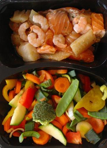 Wok with vegetables and fish